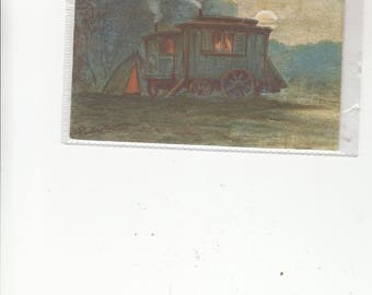 Circa 1914 Gypsy Wagon At Night Lantern Aglow Inside-Impressionist Feeling-Artist Signed