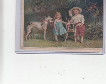 Beautiful Embossed/Relief Anttique Postcard With Children And Greyhound Dog Must See!