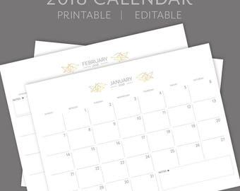2018 Calendar / Editable / Printable / Planner / Instant Download / PDF / Geometric Design