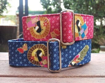 "Martingale Collar - Whippet, Greyhound, Italian Greyhound - 1"", 1.5"" and 2"" width - Geisha"
