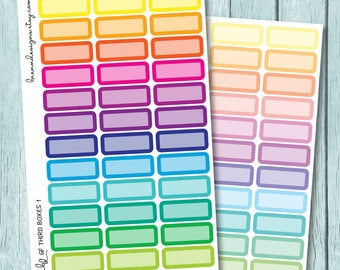 Rainbow Third Boxes, ECLP Quarter Boxes, Functional Planner Stickers