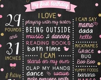 Polka Dots Birthday Sats Poster, 1st Birthday Chalkboard, Baby Birthday Sign, Pink Birthday Party Decor, Milestone Birthday Board