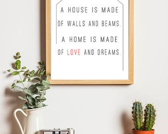 A house is made of walls and beams, a home is made of love and dreams print