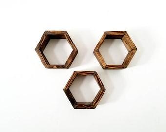 Hexagon Shelf set - Honeycomb Shelves - Floating shelves - Geometric Shelves - Hexagon wall Decor - Rustic shelf decor