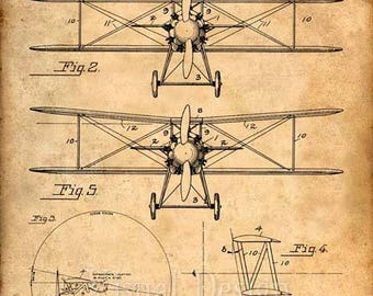 Biwing Airplane Patent Print - Patent Art Print - Patent Poster, Airplane, Plane, Aircraft, Blueprint, Pilot Gift, Patent