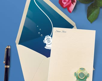 Nautical Personalized Stationery - Diver's Helmet Artwork Correspondence Cards by Landis Gifts