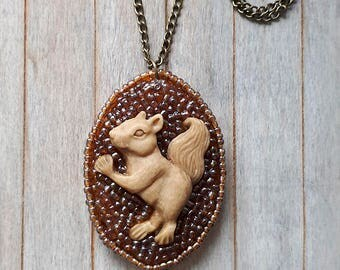 3D squirrel, Sculpted squirrel pendant, Beaded pendant