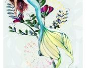 Mermaid Print, Mermaid Wall Art, Mermaid Decor,  Fine Art Print, Ocean Art, Sea Nymph, Coastal Beach Home Decor, Mermaid