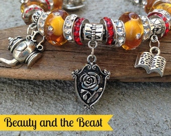 Beauty and the Beast Charm Bracelet, Fairytale Jewelry, Belle, Mrs. Potts, Lumiere, Silver Charms, Sweet 16, Murano Glass,Mirror Charm