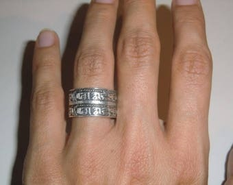 Sterling Ring with ornament vintage ethnic 925 sterling silver