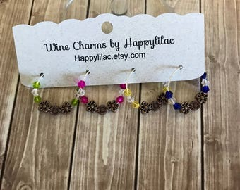 Wine Charm, Crystal Wine Charms, Daisy Wine Charm, Wine Gift, Party Favor, Birthday Gift, Wine Glass Charm, Floral Decor, Copper Daisy Decor