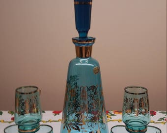 Vintage Bohemia Glass Decanter in Gold and Blue, with Original Sticker, Made in Czechoslovakia