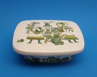 Rare Vintage Figgjo Flint Market Butter Dish