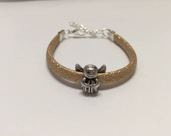 Girl bracelet, beige, with Angel ref 772 artificial leather cord