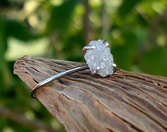 White Gold Raw Diamond Ring Engagement Ring Rough 2 ct Diamond Ring 14k White Gold Promise Ring Anniversary Ring Uncut Diamond Ring
