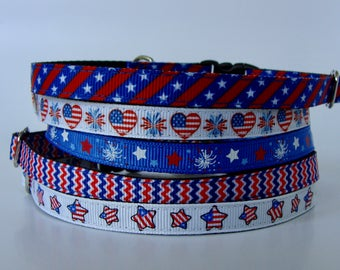 Patriotic Cat and XS Dog Collar, Leash & Harness - Ready to Ship!
