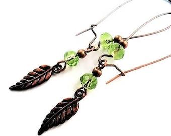 Green Earrings Crystal Jewelry Vintage Style Copper Earrings Green Jewelry Leaf Earrings Woodland Jewelry Long Earrings Leaf Jewelry For Her