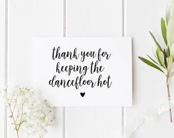 Thank You For Keeping The Dancefloor Hot, Thank You DJ Wedding Card, Dance Floor Hot Card, Thank You Music Wedding Card, Card For Wedding DJ