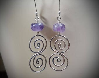 Earrings, Sterling Silver Earrings, Sterling and Amethyst Earrings, Amethyst Earrings, Dangle Earrings