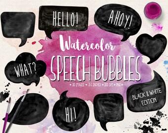 Speech Bubble Clipart. Watercolor Speech Bubble Clip Art. Hand Painted Thought Bubble Illustration. Black, White Comic Bubbles, Text Frames.