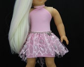 Handmade 18 inch doll clothes - Pink halter dress with high low tutu skirt (836)