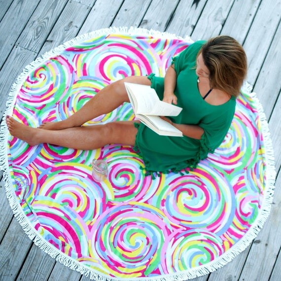 Monogrammed Beach Towel Lounge Chair Cover Personalized Swirl Pink Multicolored Fringed Beach Towel Bridesmaids Gifts Summer Weddings Beach