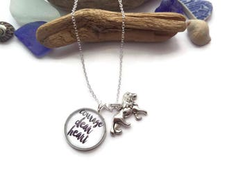 narnia necklace, charm necklace, courage dear heart, aslan necklace, narnia jewellery, gift jewelery, lion witch wardrobe, courage necklace