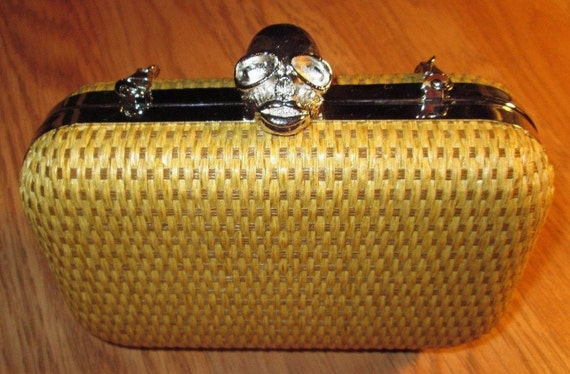 Yellow Rafia Clutch with Silver Skull Clasp