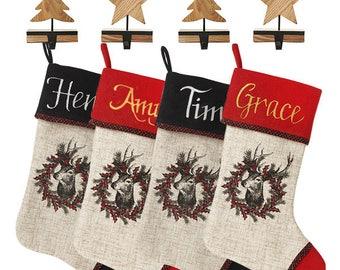 Personalised Vintage Reindeer Stocking and Hanger Value Pack