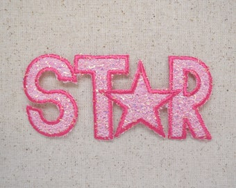 Star - Word - Pink Confetti - Embroidered Patch - Iron on Applique - 682043-B