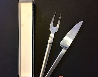 Arthur Salm Fork Knife Set in Box Stainless Steel Mid Century Modern Cutlery Flatware Serving Carving Set ASF4 Italy