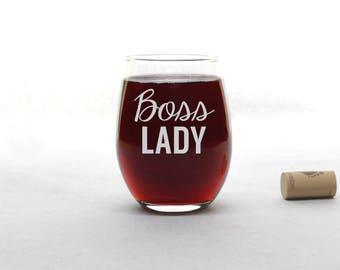 Boss Lady Wine Glass - Funny Wine Glass - Stemless Wine Glass - Wine Glass - Wine Glasses