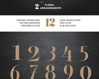 Numerical clip art, Burlap textured printable numbers, digital clip art, Rustic invitation elements,floral,flower clip art,design elements