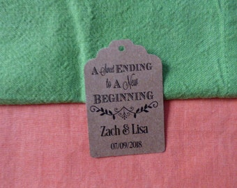 KRAFT A sweet ending to a new beggining, Personalized Wedding Tag, Kraft Tags, Wedding Favor Tag, Favor Tag. Set of 25 to 300 pieces