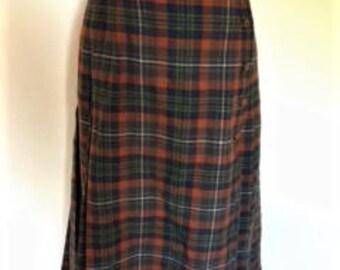 Vintage pleated skirt rust blue green Plaid Tartan Pleated Skirt Kilt style size small by Dereta Made in England