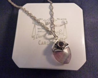 "A vintage natural amethyst and garnet pendant necklace - 925 - sterling silver - 18"" necklace - 1.1"" pendant"