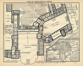 1927 Palace of Fontainebleau France Antique Map