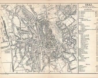 1873 Graz Austria Antique Map