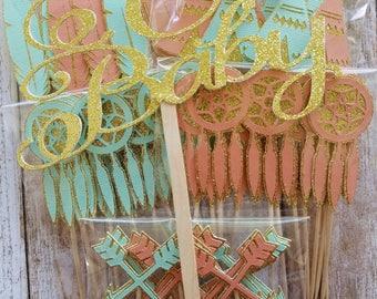 Dreams Do Come True Baby shower bundle... Baby Girl... Dream catcher... Arrow... Feather... Cake Topper... Cupcakes