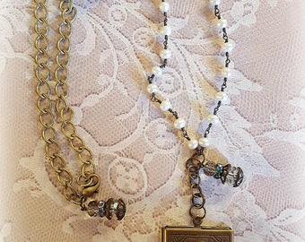 Unicorn Brass Locket, Pearl Rosary Beads, Vintage Romantic Necklace, Brass Chains, Assemblage Necklace, Upcycled and Repurposed Jewelry