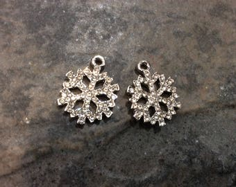 Rhinestone Snowflake Pave Charms package of 2 15mm x 19mm Perfect for Adjustable bangle bracelets or earrings Christmas snowflake charms