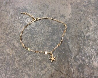 "Ankle Bracelet chains with starfish charm 8-10"" adjustable Sparkly gold anklet Beach jewelry"
