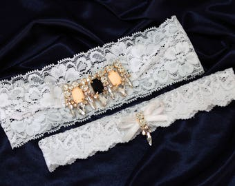 Wedding Bridal Garter Set Crystal Gold Black Pearl White Stretch Lace