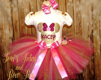 Minnie Mouse Pink and Gold Birthday Outfit || Pink and gold Minnie Mouse || Minnie Mouse Tutu Set || Minnie Mouse Gold and Pink Cake Smash
