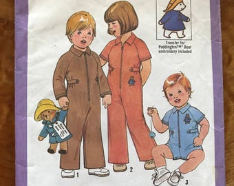 Simplicity 8329 - 1970s Toddler's Jumpsuit in Pant or Short Length - Size 2 Chest 21