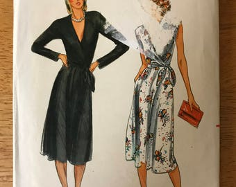 Butterick 6917 - 1980s Wrap Front Dress with Plunging V Neckline and Sleeveless or Long Sleeves Option - Size 14 Bust 36