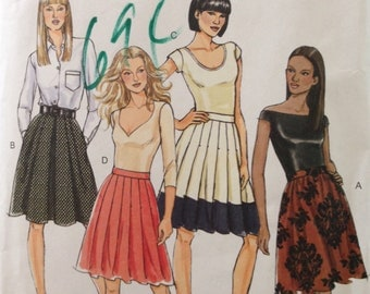 Butterick B5285 - Fast and Easy Knee Length Skirt with Flared and Pleated Options and Side Seam Pockets - Size 6 8 10 12