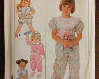 Simplicity 9466 - 1980s Girl's Pantsuit and Romper with Victorian Styling - Size 3 4 5 6