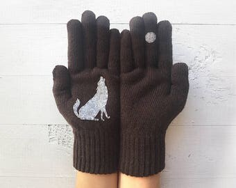 Valentine's Day Gift For Him, Gift For Him, Men Gloves, Boyfriend Gift, Valentines Day Gift, Wolf, Valentine Gift, Anniversary Gift Men Gift