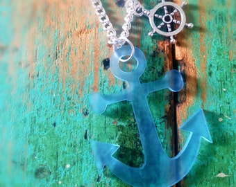 Frosted Blue Anchor Necklace